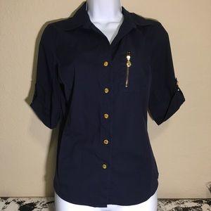 Anne Klein navy blue blouse